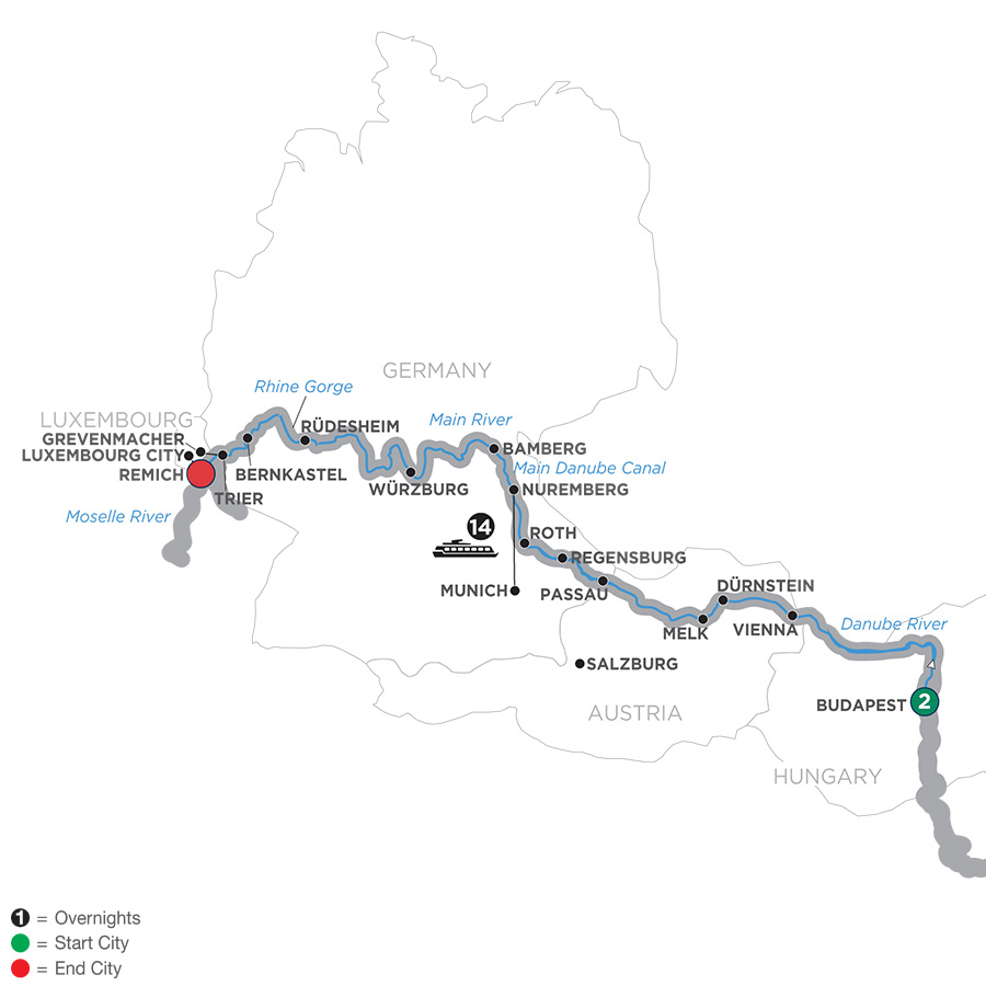 17 Day Avalon River Cruise from Budapest to Paris 2019