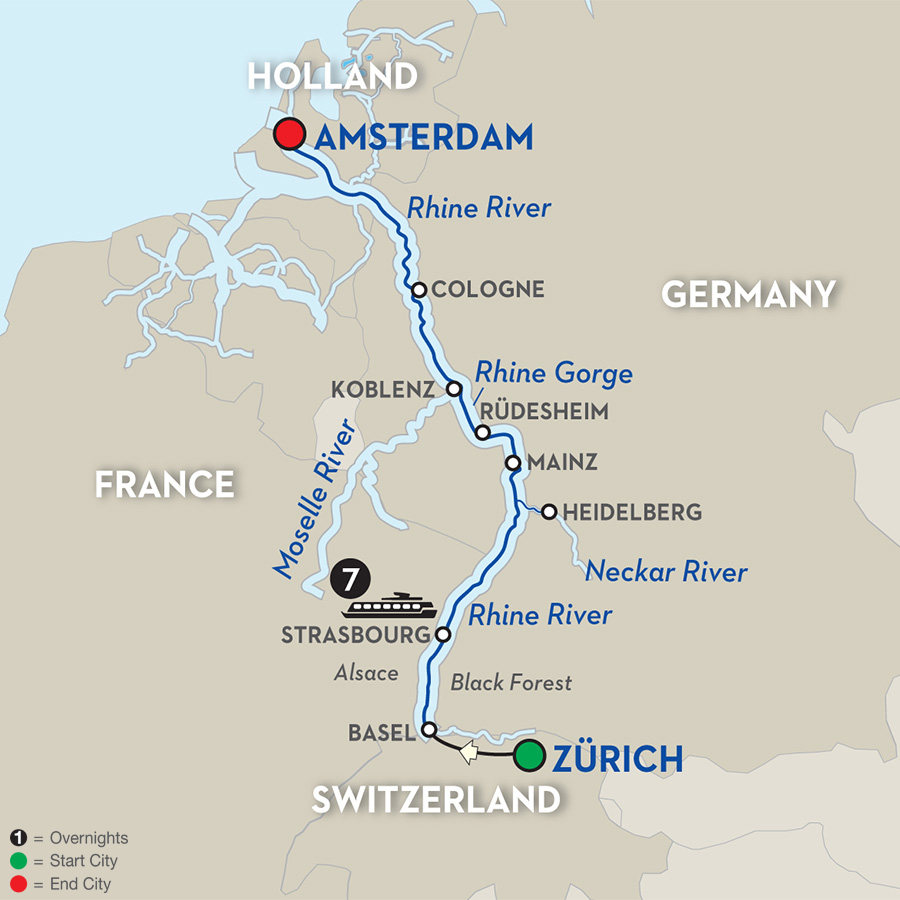 romantic rhine – northbound.  day river cruise zürich to amsterdam avalon waterways river