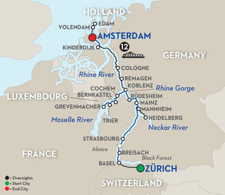 European River Cruise On The Rhine And Moselle - Germany map rhine