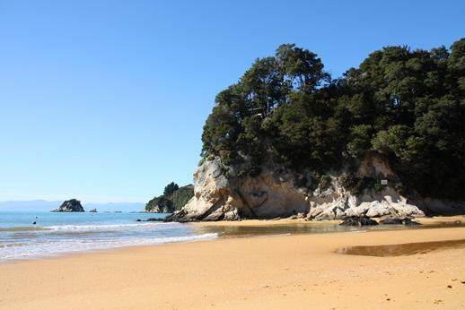 Beautiful Kaiteriteri beach in New Zealand. Incredible orange sand. Gateway to Abel Tasman National Park.