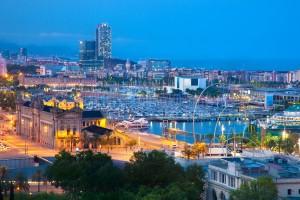 Barcelona, Spain skyline at night. Harbor view
