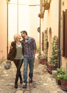 Young Couple in Love Visiting an Italian Village