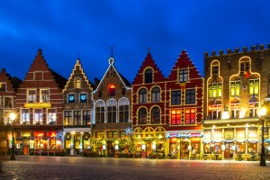 christmas markets Decorated and illuminated Market square in Bruges, Belgium