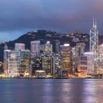 Hong Kong city skyline at night