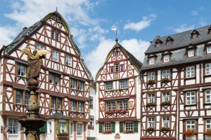 Medieval houses and statue in Bernkastel, Germany