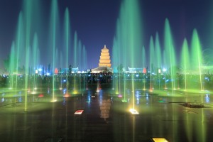 xian at night,giant wild goose pagoda with colorful fountains, China.