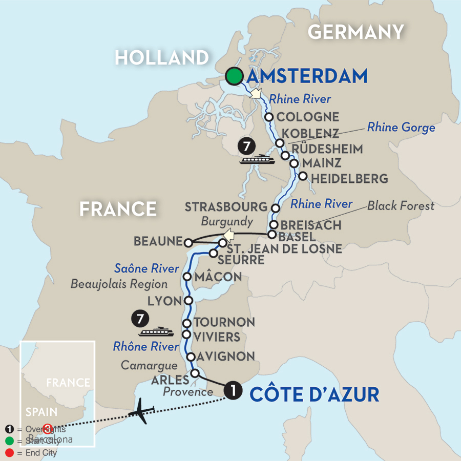 19 Day Avalon River Cruise from Amsterdam to Barcelona 2017