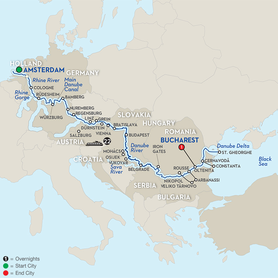 22 Day Avalon River Cruise From Amsterdam To Bucharest