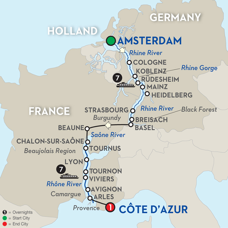 16 Day Avalon River Cruise from Amsterdam to Côte d'Azur 2017