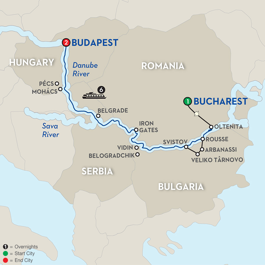 avalon-river-cruise-bucharest-to-budapest-map