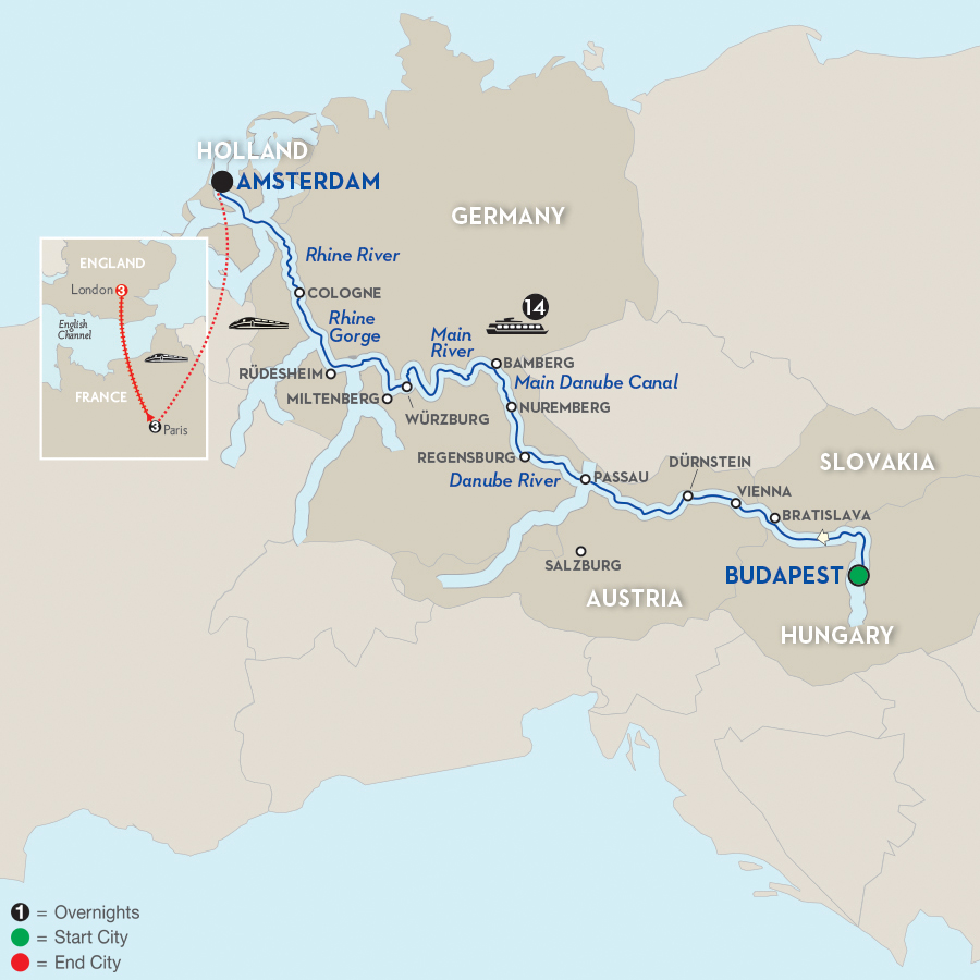 21 Day Avalon River Cruise from Budapest to London 2017