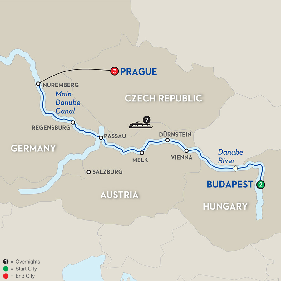 13 Day Avalon River Cruise from Budapest to Prague - 2018 ... Danube River Cruise Map on
