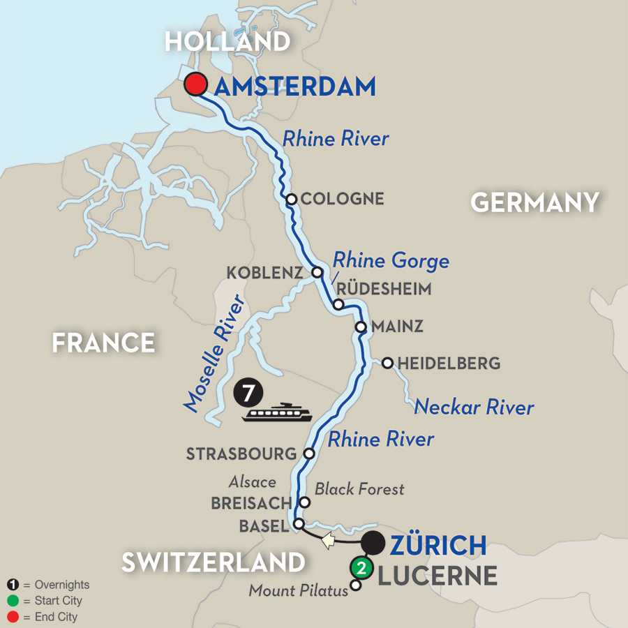 10 Day Avalon River Cruise from Lucerne to Amsterdam 2017