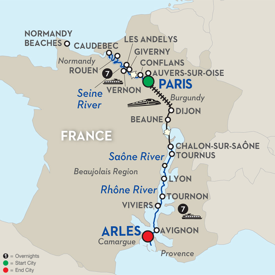 Day Avalon River Cruise From Paris To Arles - World map seine river