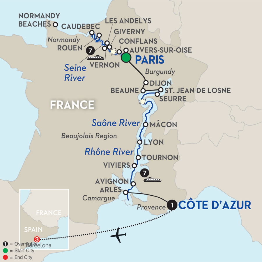 19 Day Avalon River Cruise from Paris to Barcelona 2017