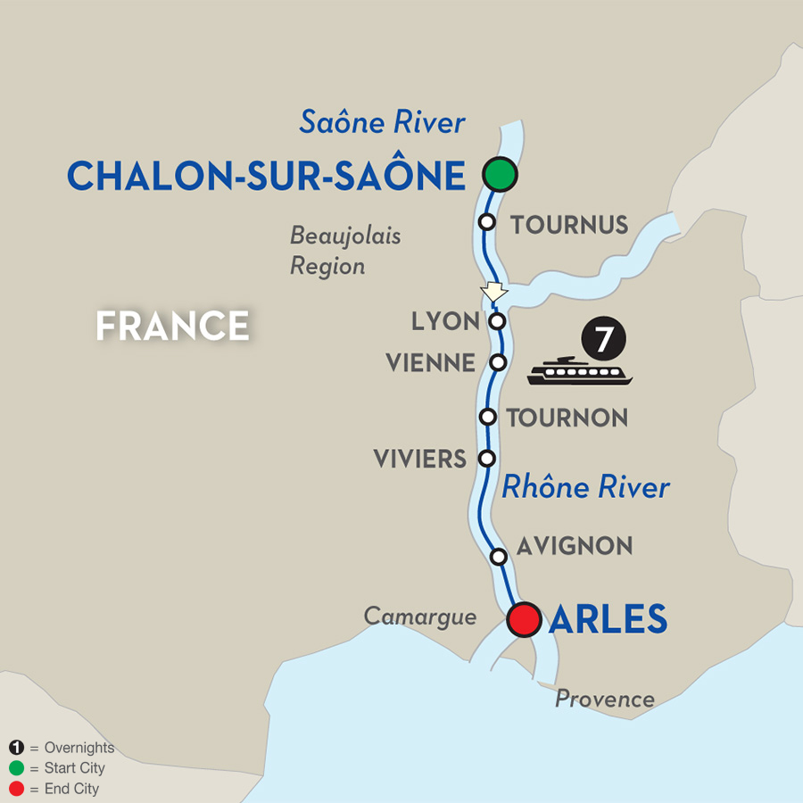8 Day Avalon River Cruise from St. Jean-de-Losne to Arles - Cruise Only 2017
